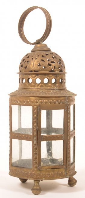 Brass 19th Century Indonesian Candle Lantern.