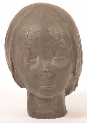 """Bronze Bust Head Of A Girl Signed """"mallo""""."""