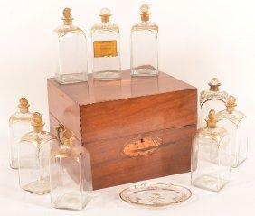 American Federal Mahogany Inlaid Bottle Box.