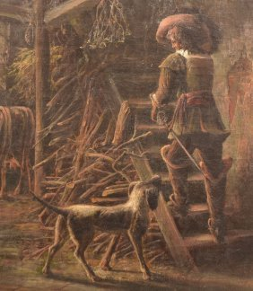 19th C. Painting Depicting A French Musketeer.