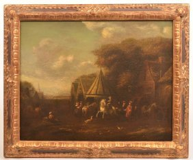 18th Cent. Oil Painting Depicting a Village Scene.