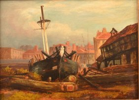 Painting Of A Boat And Cityscape Signed Hodges.