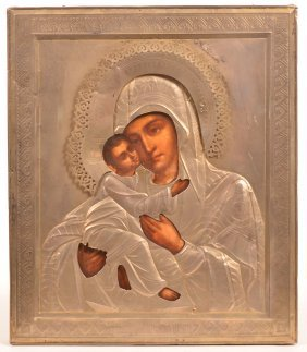 Russian Oklad Mount Hand Painted Icon.
