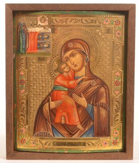 19th Century Russian Mother Of God Icon.