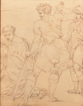18th Century Brown Ink Martyrdom Scene.