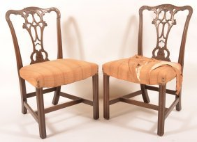 Pair Of Chippendale Style Mahogany Sidechairs.
