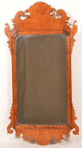 Chippendale Style Tiger Maple Wall Mirror.