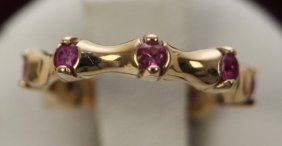 14k Yellow Gold And Pink Ruby Ring
