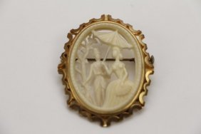 1920's French Celluloid Silhouette Brooch