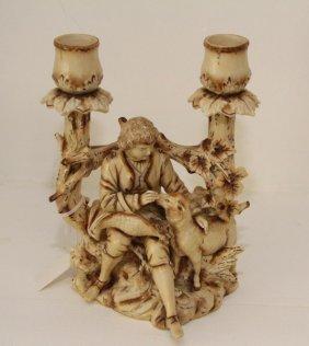 19th C. German Shepherd Boy Porcelain Candleholder