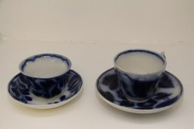 Pair Of 19th Century Flow Blue Cups And Saucers
