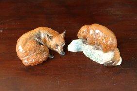 Beswick Fox And Beaver Figurines