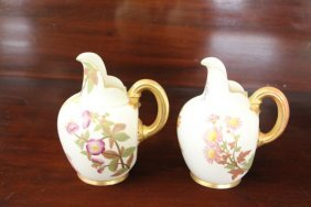 Two Royal Worcester Pitchers