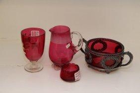Four Pieces Victorian Cranberry Glass