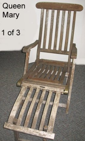 1067 antique rms queen mary 1st class deck chair 1of3