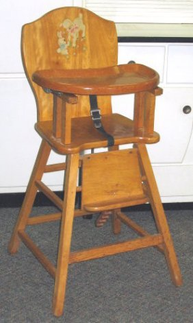 585 1950s Vintage Baby High Chair W Decals Lot 585
