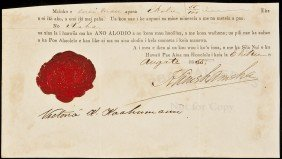 Document Signed By Kamehameha IV Of Hawaii
