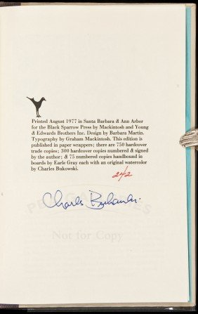 Bukowski Love Is A Dog From Hell Signed Book
