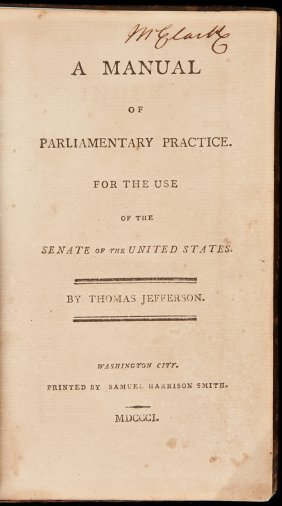 Jefferson's Manual Of Parliamentary Practice 1801