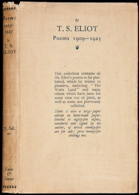 T.S. Eliot Poems, 1909-1925 In Dust Jacket