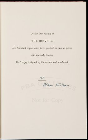 William Faulkner The Reivers Signed Limited Edn
