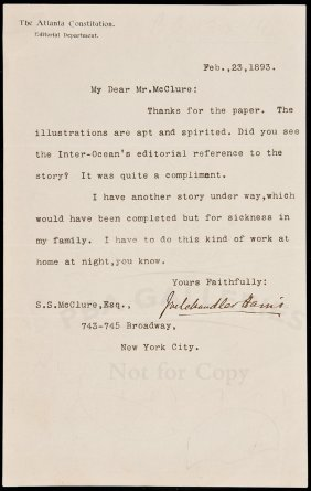 Joel Chandler Harris TLS To S.S. McClure