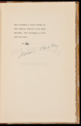 Aldous Huxley Vulgarity In Literature Ltd. Edn.