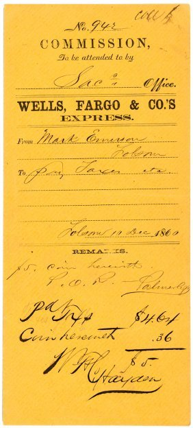 Commission Envelope From Wells Fargo Co 1860 Lot 183