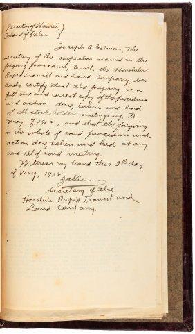 Minutes Of Hawaii Rapid Transit Co. 1898-1916