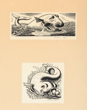 Two Original Rockwell Kent Moby Dick Illustrations
