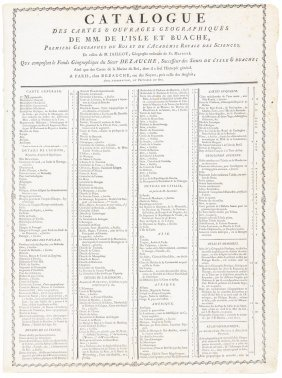 Rare Single-sheet Catalog For Dezauche 1780