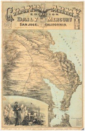 Rare View Of Santa Clara Valley C.1880
