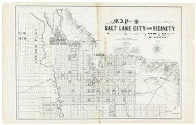 Rare Map Of Salt Lake City 1888