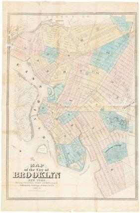 Rare Map Of Brooklyn 1873