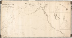 Chart Of Pacific 1855 Wiith Insets Of S.f. Bay & Hawaii