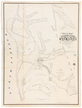 Rare Map Of San Diego Pueblo Lands 1870