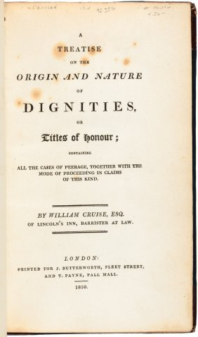 Treatise On The Origin And Nature Of Dignities, First