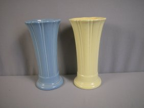 "Fiesta Post 86 Periwinkle And Yellow 10"" Vases"
