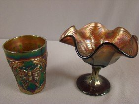 Fenton Green Carnival Glass Butterfly & Fern Tumb