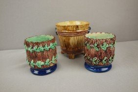 Thomas Sergent Lot Of 3 Small Planters, One Bucket