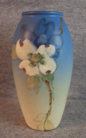 Weller Hudson Art Pottery Vase, Blue With Floral M
