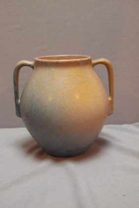 Roseville Earlam Vase, 1930, Tan/blue, 519-7