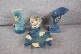 Roseville Lot Of 4 Items - Blue Apple Blossom Vase
