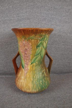 "Roseville Wisteria Large Vase, 10 1/2"", Rim Repair"
