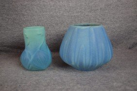 Van Briggle Lot Of 2 Blue Vases, 4 1/2""