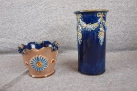 "Royal Doulton Lambeth Lot Of 2 Vases, 3"" And 6"""