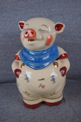 Shawnee Smiley Cookie Jar With Gold