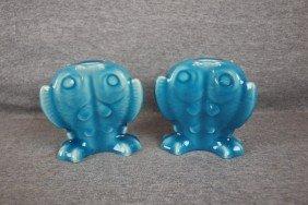 Rookwood Pair Of Blue Standard Glaze Triple Fish Ca