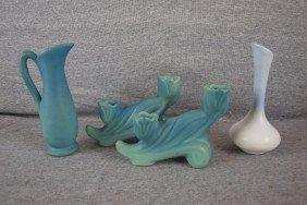 Van Briggle Lot Of 4 Pieces - Ewer, Pair Of Floral
