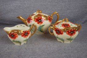 Pickard China Teaset With Poppies, Artist Signed,